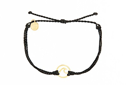 Pura Vida Gold Wave Black Bracelet - Handcrafted with Gold-Plated Charm - 100% Waterproof from Pura Vida