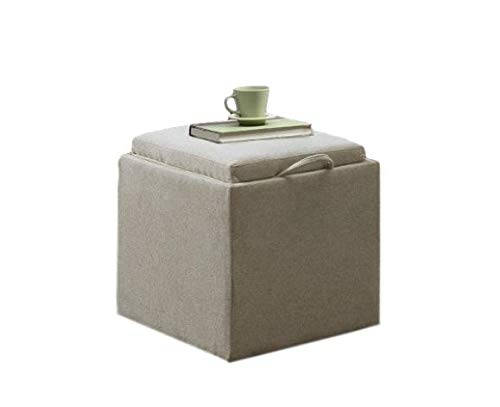 GT Ottoman Storage Containers Soft Beige Fabric Upholstered Stool Bench Home Ottoman Tray Lid Tufted Furniture Ottoman Bench Seat Living Room & E book Easy 2 Find. by GT
