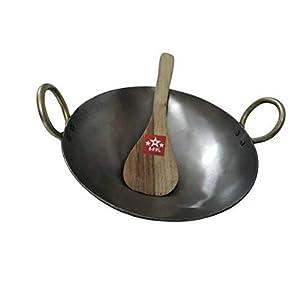 BRRL Pure Iron Kadai Lokhand Loha Kadhai Large Heavy Wok Cooking Pan 13″ with Wooden Karchi