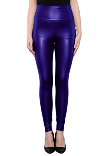 SodaCoda Women's Faux Leather Leggings - Tight High Waist - Wet Look Blue, S
