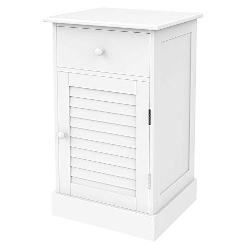 Yaheetech Storage Cabinet End Table Nightstand One Drawer with Slatted Door White (Glass Nightstand Door)