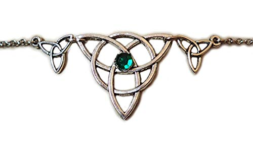 Green Celtic Triple Triquetra Tinity Knot Elven Elf Silver Circlet Headpiece Headdress Crown Rennaissance Medieval Halloween Costume -