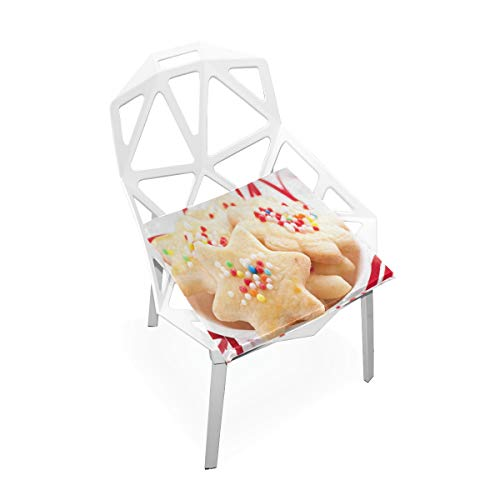 (Pingshoes Seat Cushion Christmas Cookie Star Chair Cushion Offices Butt Chair Pads Square Wheelchairs Mat for Indoor)