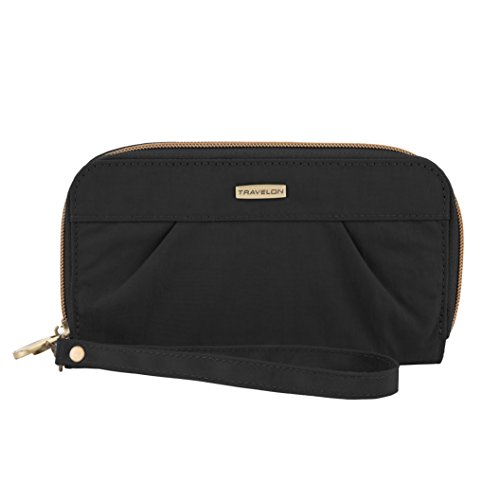 Travelon RFID Blocking Signature Pleated Double Zip Clutch Wallet, Black