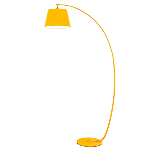 3c White Led Yellow Body - Floor Lamp, 12W LED Living Room Yellow Fishing Simple Modern Study Bedroom Remote Control Lighting 35180Cm,Yellow,Ordinary