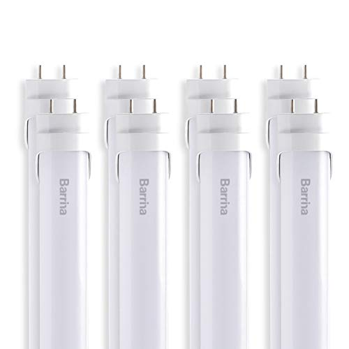 Barrina T8 T10 T12 LED Light Tube, 4ft, 24W 2500Lm, 6000K Super Bright White, Dual-End Powered, Frosted Cover, G13, T8 T10 T12 Fluorescent Light Tubes Replacement, 8-pack by Barrina