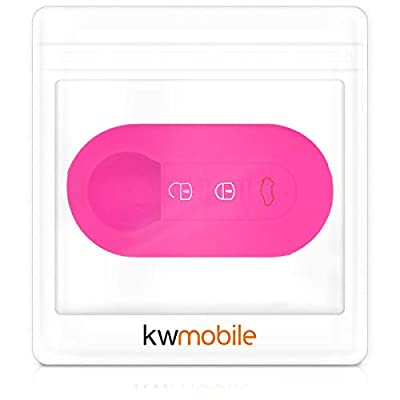 kwmobile Car Key Cover Compatible with Fiat Lancia 3 Button Car Flip Key - Silicone Protective Key Fob Cover - Rally Stripe White/Dark Pink: Automotive