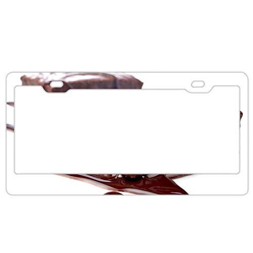 - YEX Abstract Cake Pie Piece Chocolate10 License Plate Frame Car License Plate Covers Auto Tag Holder 6