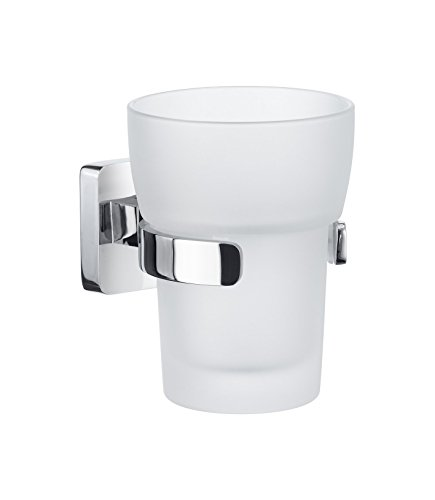 Smedbo OK343 Holder with Frosted Glass Tumbler, Polished Chrome