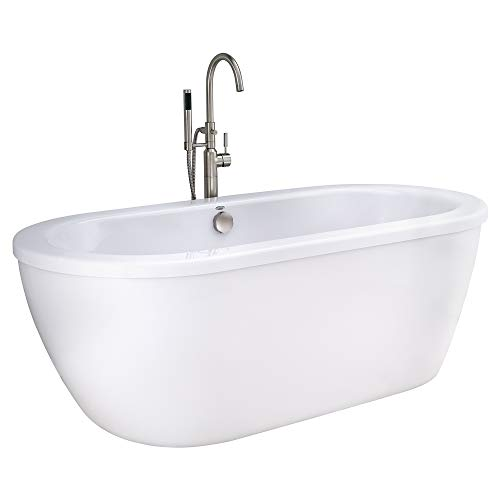 American Standard 2764014M202.011 Cadet 66 in. Acrylic Freestanding Soaker Bathtub with Tub Filler, Hand Shower and Drain, Arctic White