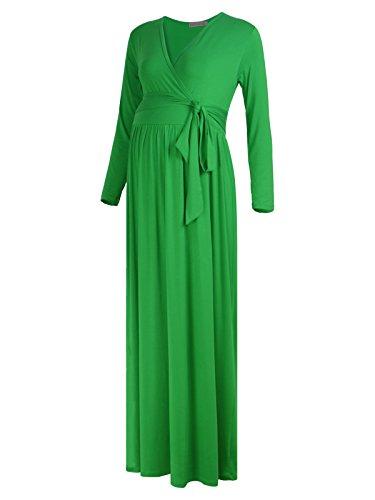 Long Sleeve Wrap Front Dress (BlackCherry Women's Long Sleeve Maternity Nursing Front Tie Wrap Maxi Dress)