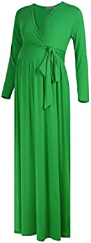 Select Black Cherry Women's Maternity Nursing Front Tie Wrap Maxi Dress