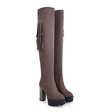 5 EU42 Gris Zapatos Casual Puntera Para RTRY Botas Negro De US10 Talón Redonda Cuero Botas Nubuck Invierno UK8 5 Moda Botas CN43 High Thigh Chunky De Borla Caqui De Vestimenta Mujer pqgdFwq