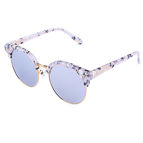 a83b9dad4ab Carfia Round Womens Sunglasses Polarized Mirrored Sunglasses Plank Frame  with Box
