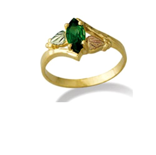 Created Emerald Marquise Bypass Ring, 10k Yellow Gold, 12k Green and Rose Gold Black Hills Gold Motif, Size 9.25