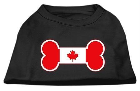 Mirage Pet Products Bone Shaped Canadian Flag Screen Print Shirt, X-Small, Black