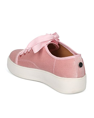 Sneaker Creeper Alrisco Da Donna - Sneaker Bassa In Velluto Con Plateau - Nastro In Pizzo Femminile - Hd07 By Wild Diva Collection Blush Velvet