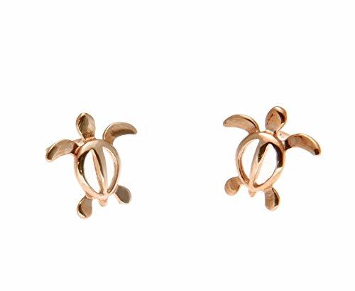 14K solid pink rose gold Hawaiian baby honu turtle stud post earrings