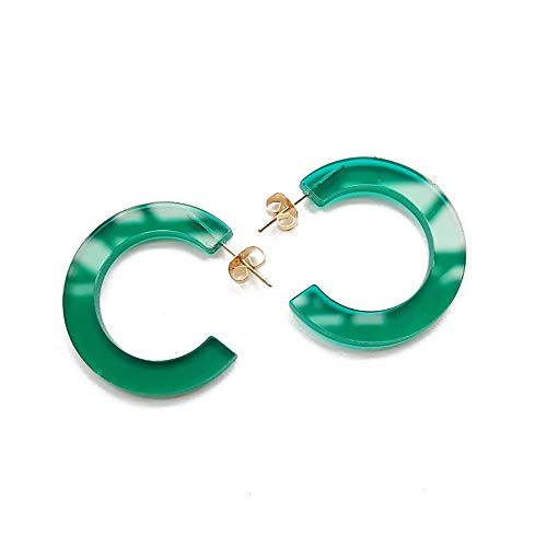 (New Arrival Creative Transparent Acrylic Material Exaggerated Circular Shape Candy Colors Women/Girl's Charm Earrings Ear Studs(5cm) (Green(5cm), 5))