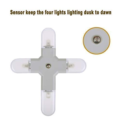 Cross-in LED Night Light Four Round Lamp with Dusk to Dawn Sensor for Hallway, Kitchen, Bathroom, Bedroom, Stairs or Any Dark Room, White Light,0.3W/pc,2-Pack