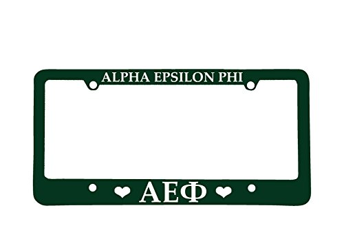 Officially Licensed Alpha Epsilon Phi License Plate Frame - Green with Hearts