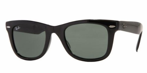 Ray-Ban Folding Wayfarer Sunglasses Black/Crystal Green, - Foldable Wayfarer