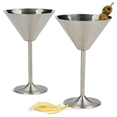 RSVP Endurance Stainless Steel Martini Glasses, Set of 2