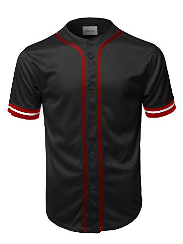 Game Day Baseball Jersey - Casual Hipster Short Sleeves Baseball Inspired Jersey Top Black M