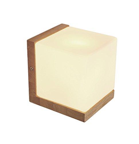 Mynightwish Modern Wood Mount Wall Lamp Sugar Cube Wall Sconce Milk Glass Cover Night Light 4 Home Ded Room