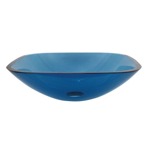 Kingston Brass EVSQFB4 Fauceture Square Tempered Glass Bathroom Vessel, Topaz Blue