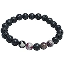 Diffuser and Gemstone Bracelet by Kuratif- Tourmaline and Lava Stone (8mm)