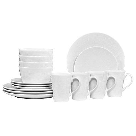 Noritake White on White Swirl Coupe 16-Piece Dinnerware Set | 16-piece dinnerware set for a service for 4