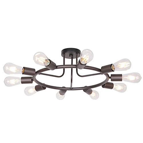 (BONLICHT Modern 10-Light Sputnik Chandelier Oil-Rubbed Bronze Mid Century Semi Flush Mount Ceiling Light Retro Chandelier Lighting for Living Room Dining Room Bedroom)