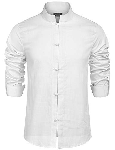 COOFANDY Men's Slim Fit Long Sleeve Banded Collar Solid Linen Button Down Shirts,White,Small