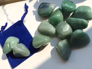 Tumbled Stones: Green Aventurine ~ Heart Chakra ~ Love ~ 2 Large Healing Stone ~ Ravenz Roost Stone with Pouch and Info Card