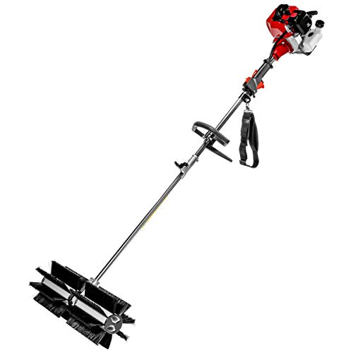 XtremepowerUS 42.7CC Walk Behind Hand Held Gas Powered Sweeper Broom Concrete Driveway ()