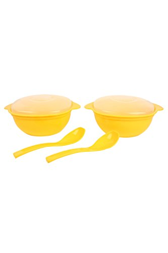 Day2Day Forever Yellow Serving Casseroles with Lid and Serving Spoons Pack of 2