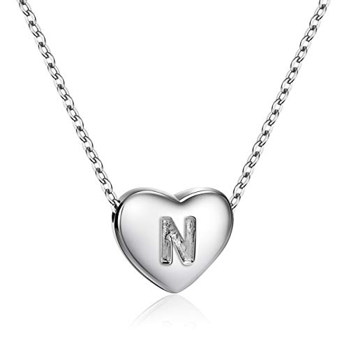 Dainty Heart Initial Necklace S925 Sterling Silver Letters N Alphabet Pendant Necklace Girl - Pendant Girls Necklace