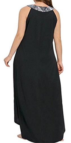Sleeveless Women and Baggy Big Hi Black Crew Low Tall Neck Dress Sequins Cromoncent qgCxawSC