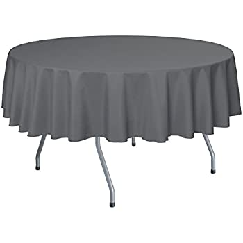 Ultimate Textile 60 Inch Round Polyester Linen Tablecloth Charcoal Grey