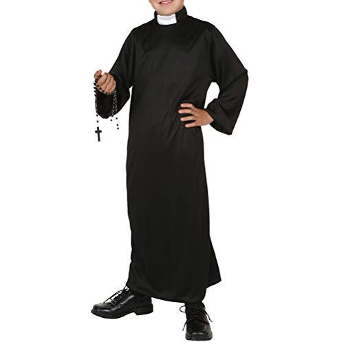 Kids Child Priest Costume Boys Dress Robe Halloween Fancy Masquerade Clothing Zhhyltt Fancy Priest's Dress Black Children's Black Jesus Robe Clothes Father q7AWUaPnx