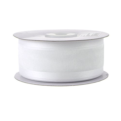Ribbon Nylon Organza - Satin Edge Organza Ribbon, 1 1/2-Inch 25 Yards (White)