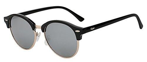 trasero con sol w gafas de diseño y clásico para de polarizadas G15 Black TIANLIANG04 G15 hombres Black remache metal w sol marco de Gafas redondas unisex mujeres 4xqnCTvw