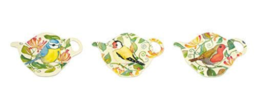 - Set of 3 GARDEN BIRDS Melamine Teabag Tidy/Holder - Emma Ball Design - Small - 10cm