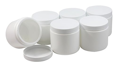Pinnacle Mercantile Plastic Containers with Screw on Lids 16 oz Quart Hot or Cold Freezable Food Ice Cream Jars White BPA Free Set of 6