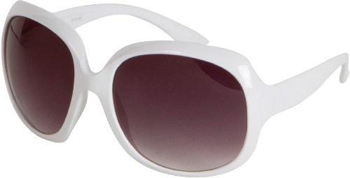 (GA4565 Retro Vintage Oversized Frame Fashion Sunglasses - White - Smoke Lens)
