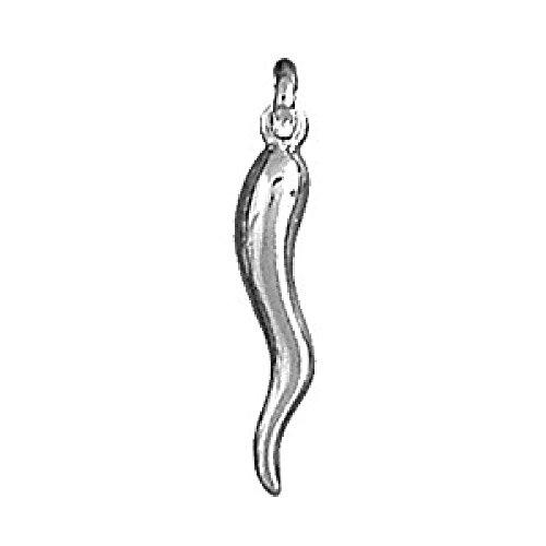 So Chic Jewels - 925 Sterling Silver Italian Horn Chilli Pepper Good Luck Charm (Italian Horn Good Luck Charm)