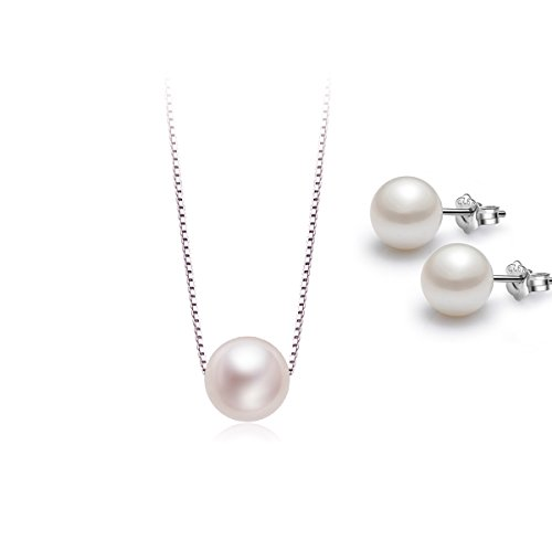 CAT EYE JEWELS Pearl Stud Earrings and Necklace Set S925 Sterling Silver Pendant Box Chain C001V