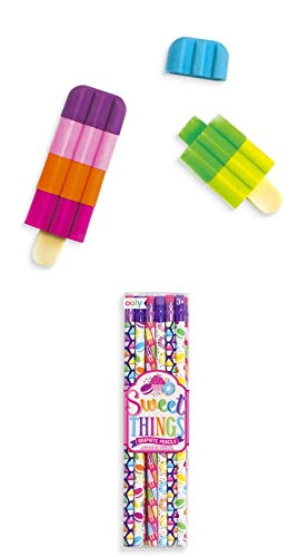 Ooly Sweet Things Pencils 12 Pack and Icy Pops Scented Puzzle Erasers Set