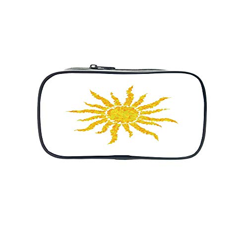 3D Print Design Pen Bag,Sun,Artsy Grunge Star Drawing Circle and Stripes Abstract Center of Solar System Decorative,Marigold Pale Green,for Students,Pictures Print Design by iPrint